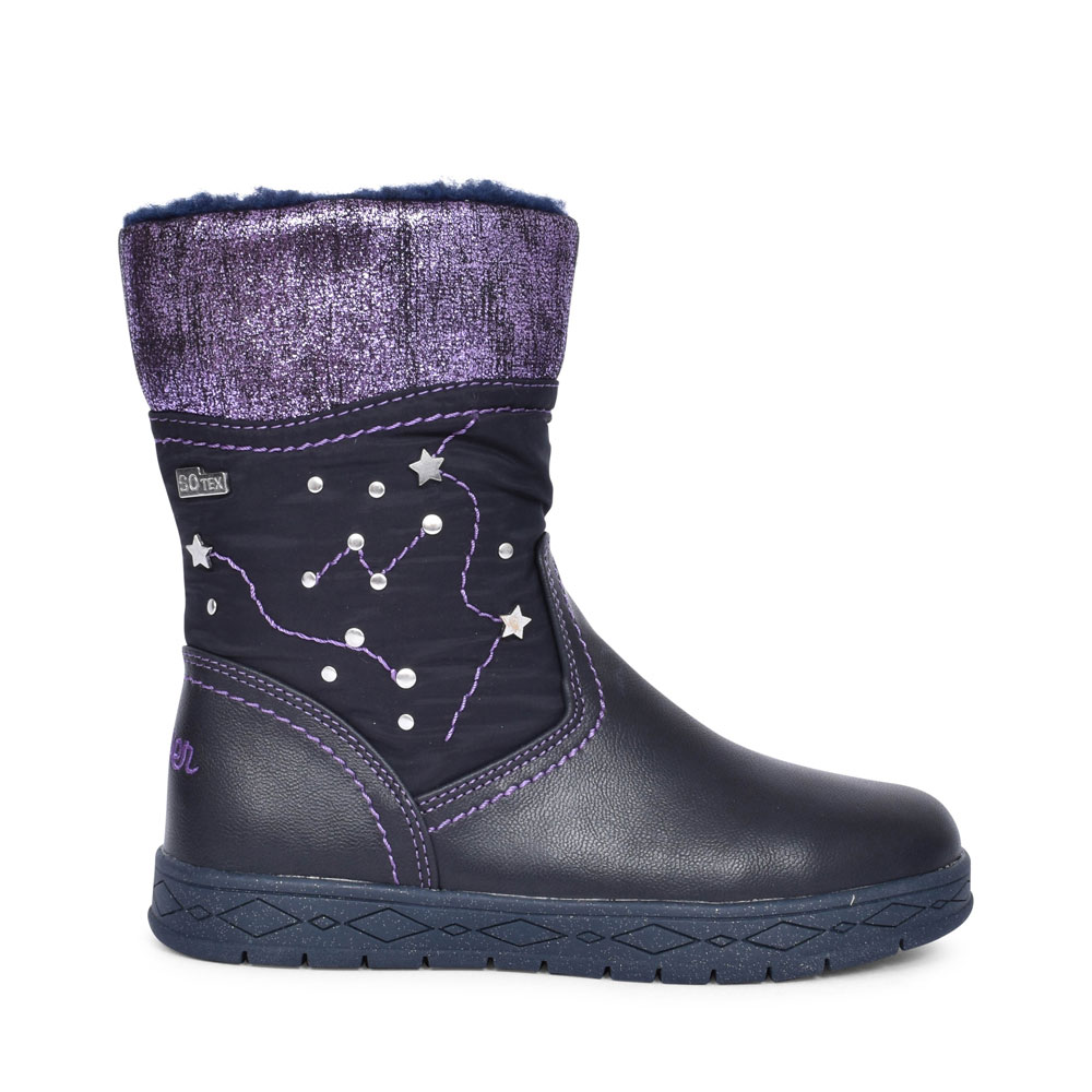 5-36604 CASUAL STUD DETAIL CALF BOOT FOR GIRLS in NAVY