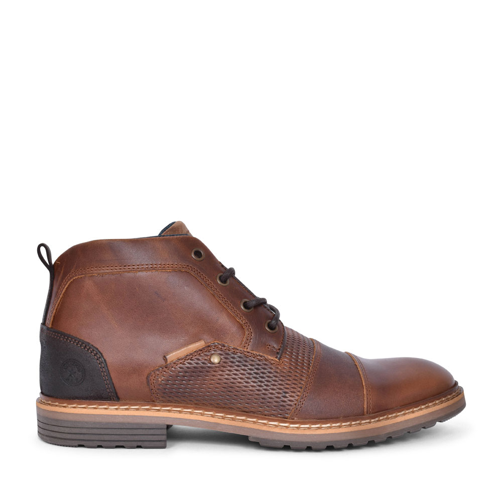 PEANUT CASUAL LACED ANKLE BOOT FOR MEN in TAN
