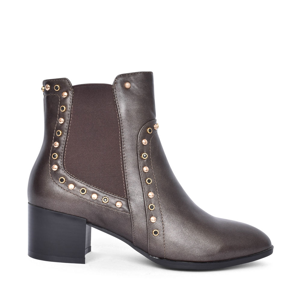ALEPPO MEDIUM HEEL STUDDED ANKLE BOOT FOR LADIES in DARK GREY