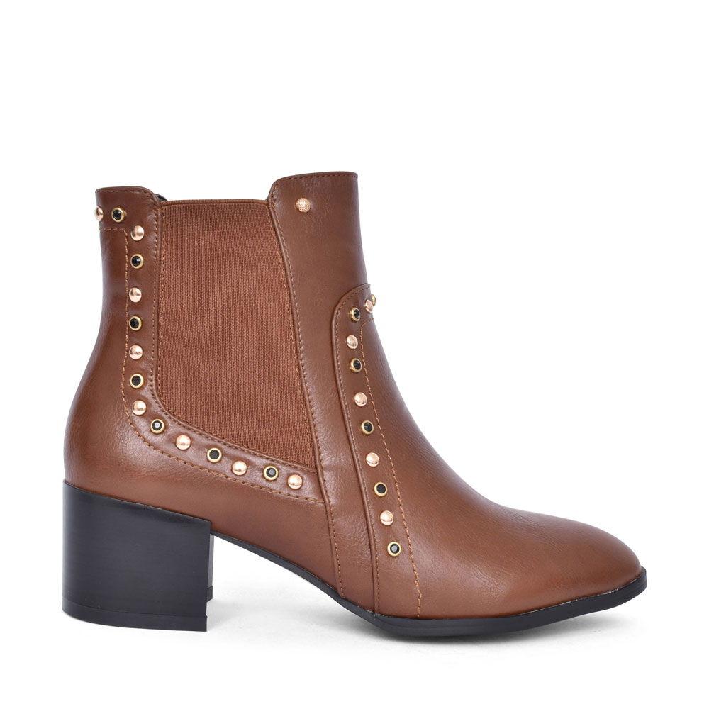 ALEPPO MEDIUM HEEL STUDDED ANKLE BOOT FOR LADIES in CARAMEL