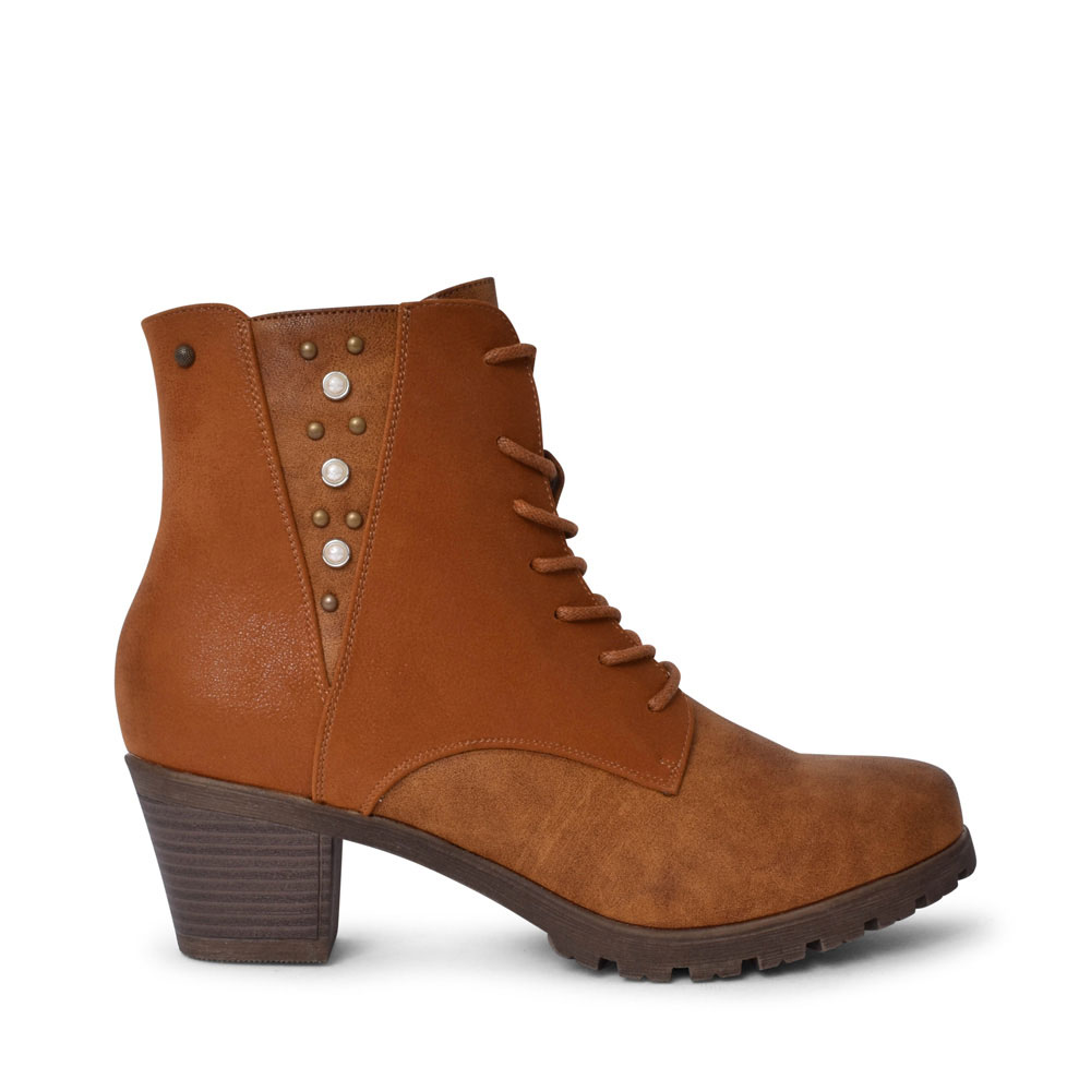 GERRHA MEDIUM HEEL LACED ANKLE BOOT FOR LADIES in CARAMEL