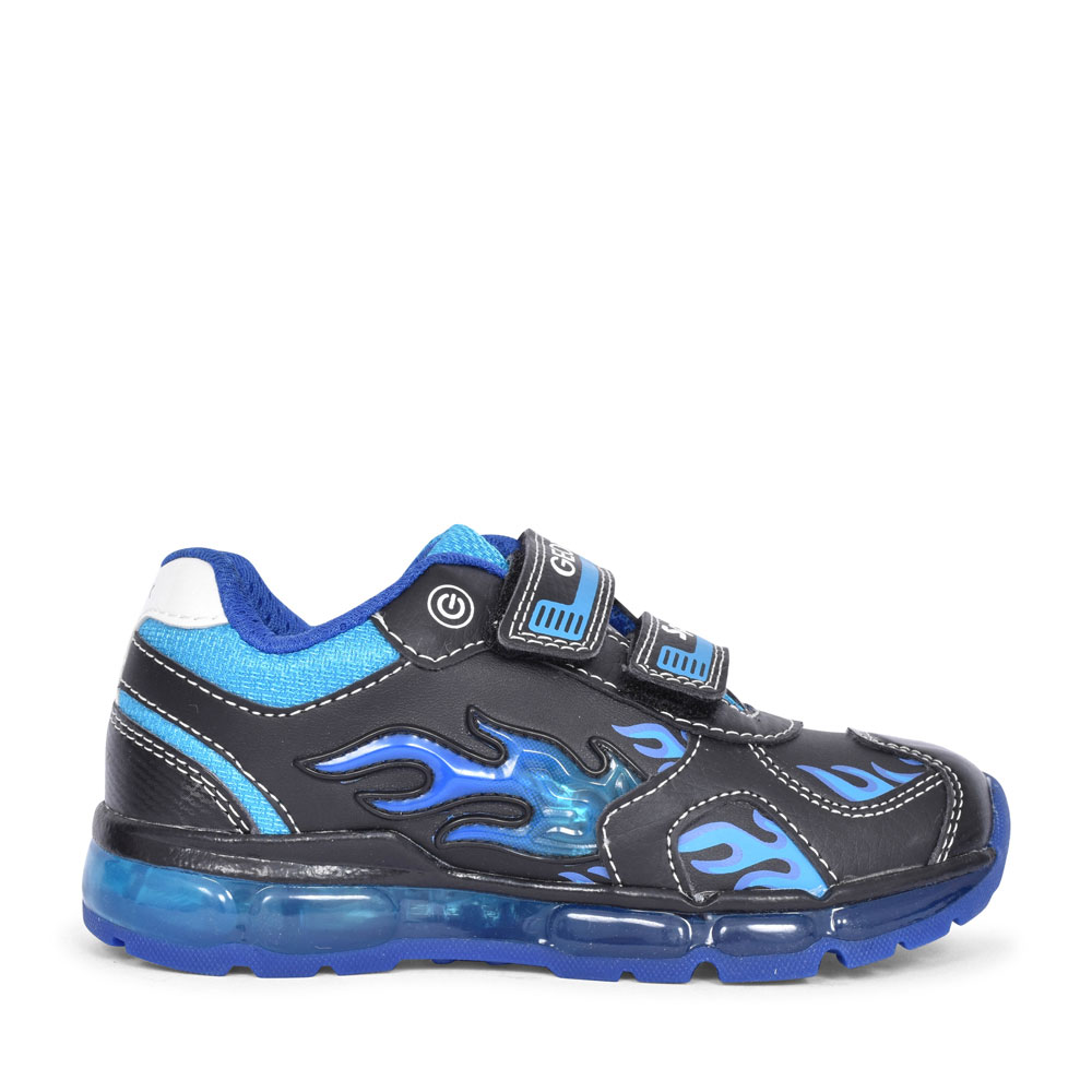J9444C ANDROID DOUBLE VELCRO TRAINER FOR BOYS in BLACK