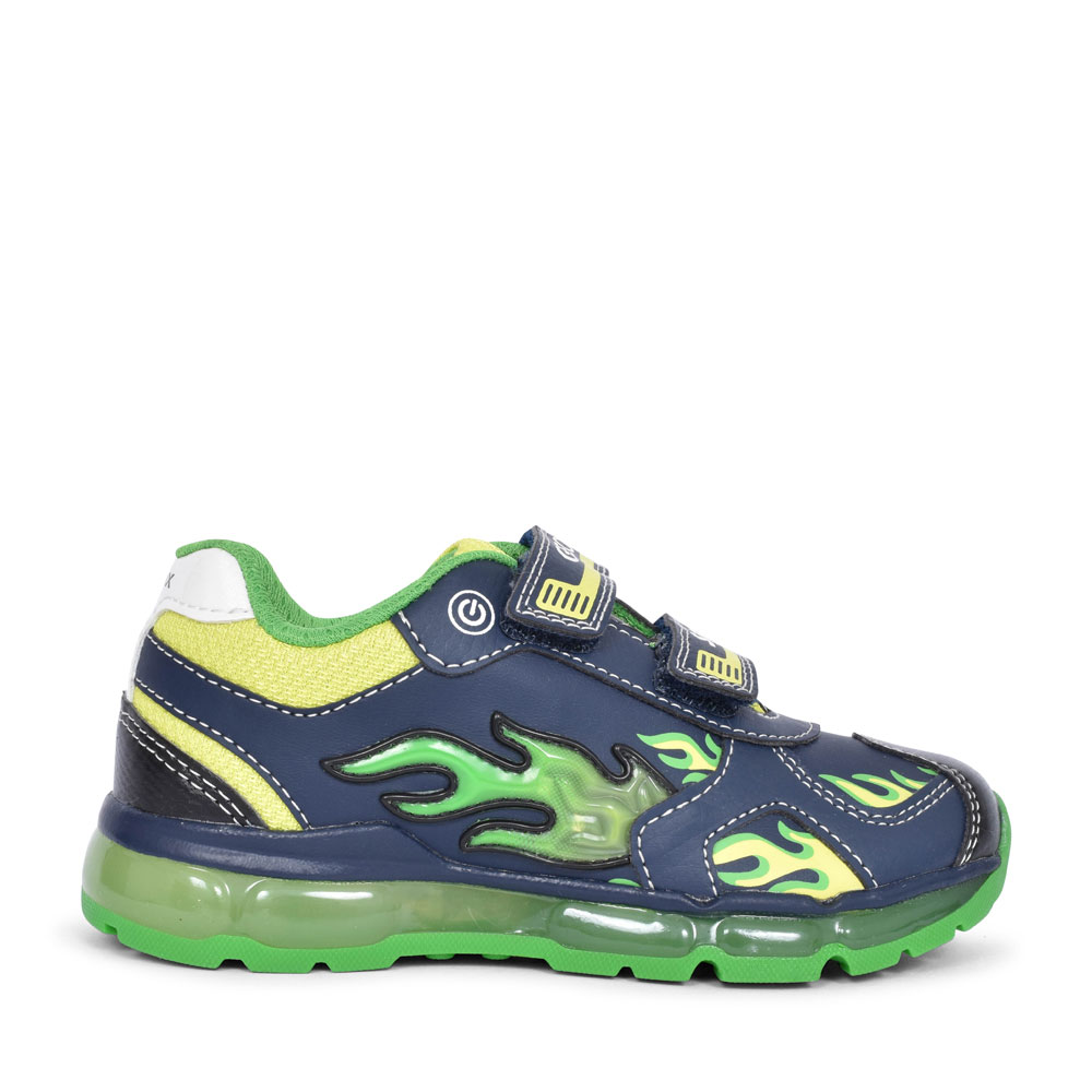 J9444C ANDROID DOUBLE VELCRO TRAINER FOR BOYS in NAVY