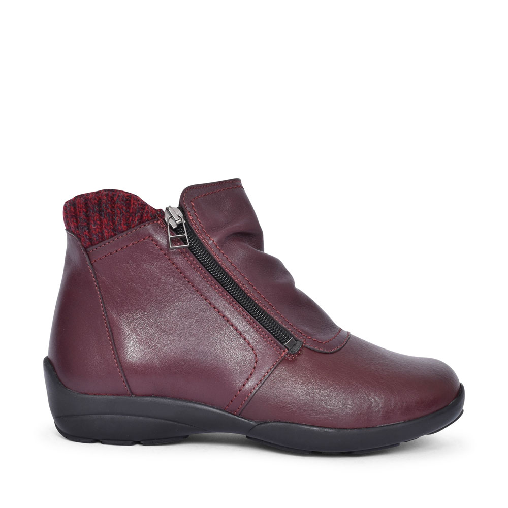 STOKE EXTRA WIDE 2V ANKLE BOOT FOR LADIES in BURGANDY