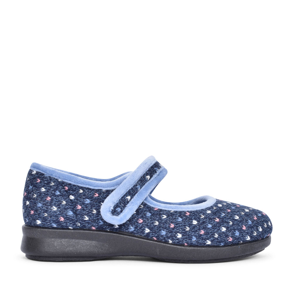 PITSFORD EX WIDE 2V VELCRO SLIPPER FOR LADIES in NAVY