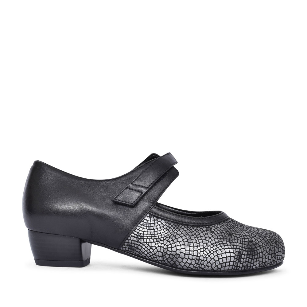 MOSAIC EXTRA WIDE 2V LOW HEEL SLIP ON COURT SHOE FOR LADIES in BLACK