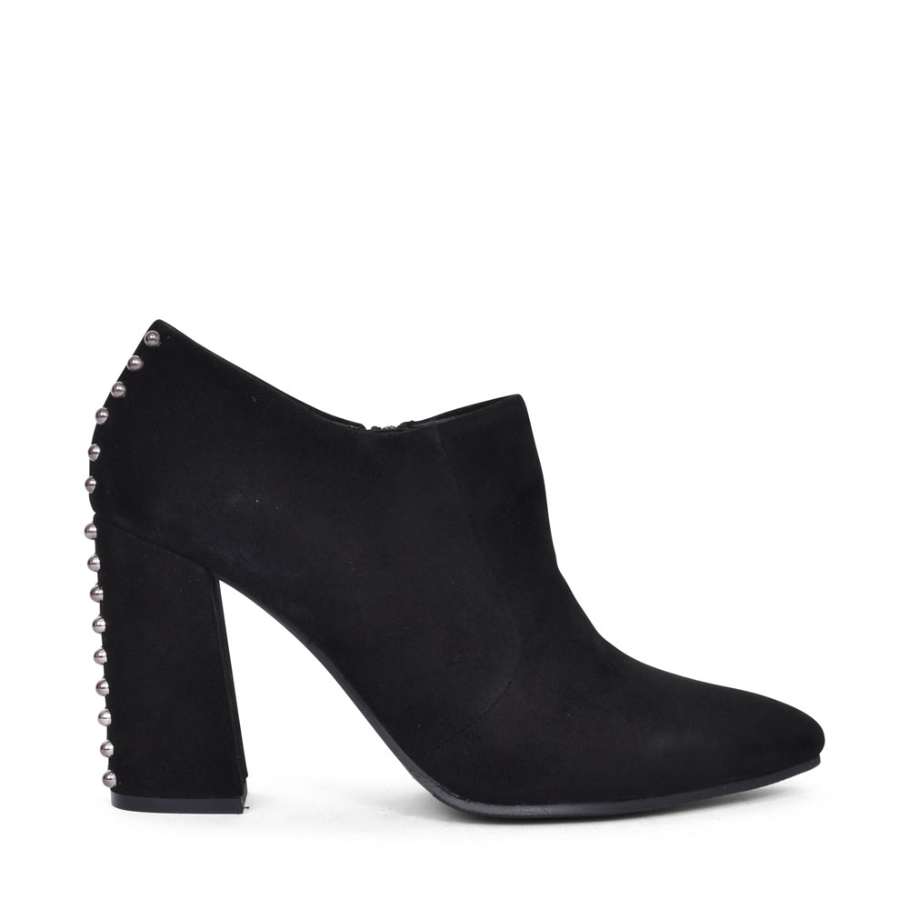 AX1701X HIGH HEEL STUD BACK LOW ANKLE BOOT FOR LADIES in BLACK