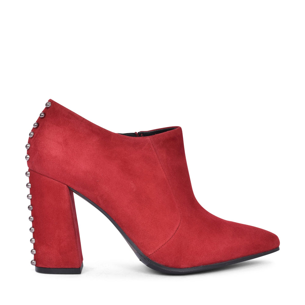 AX1701X HIGH HEEL STUD BACK LOW ANKLE BOOT FOR LADIES in RED