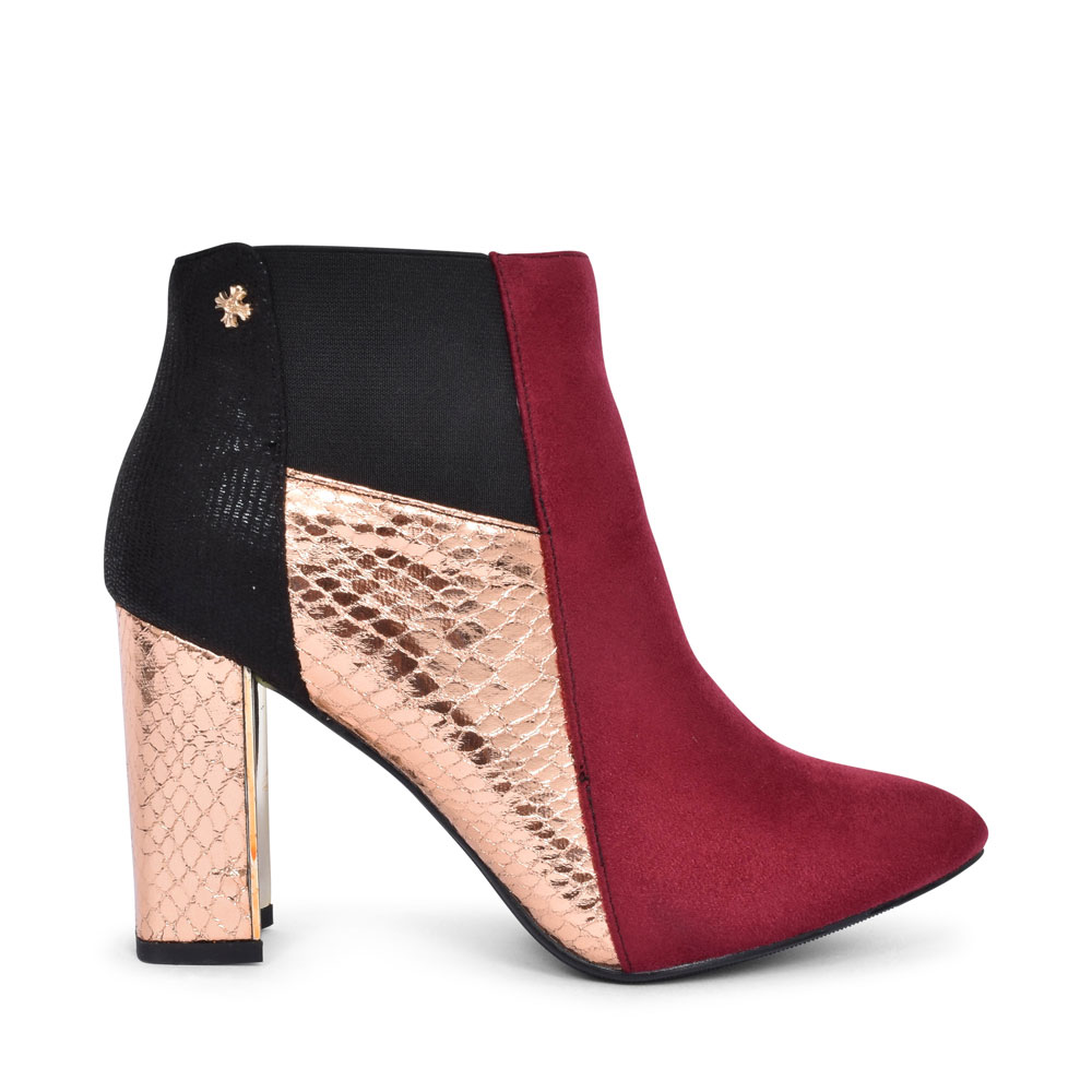 AVA HIGH HEEL POINTED TOE ANKLE BO in BURGANDY