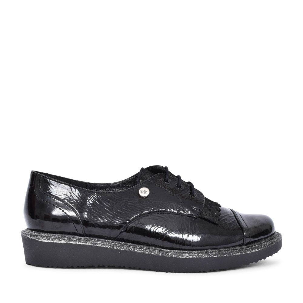 FELINE PATENT LACED BROGUE SHOE FOR LADIES in BLACK