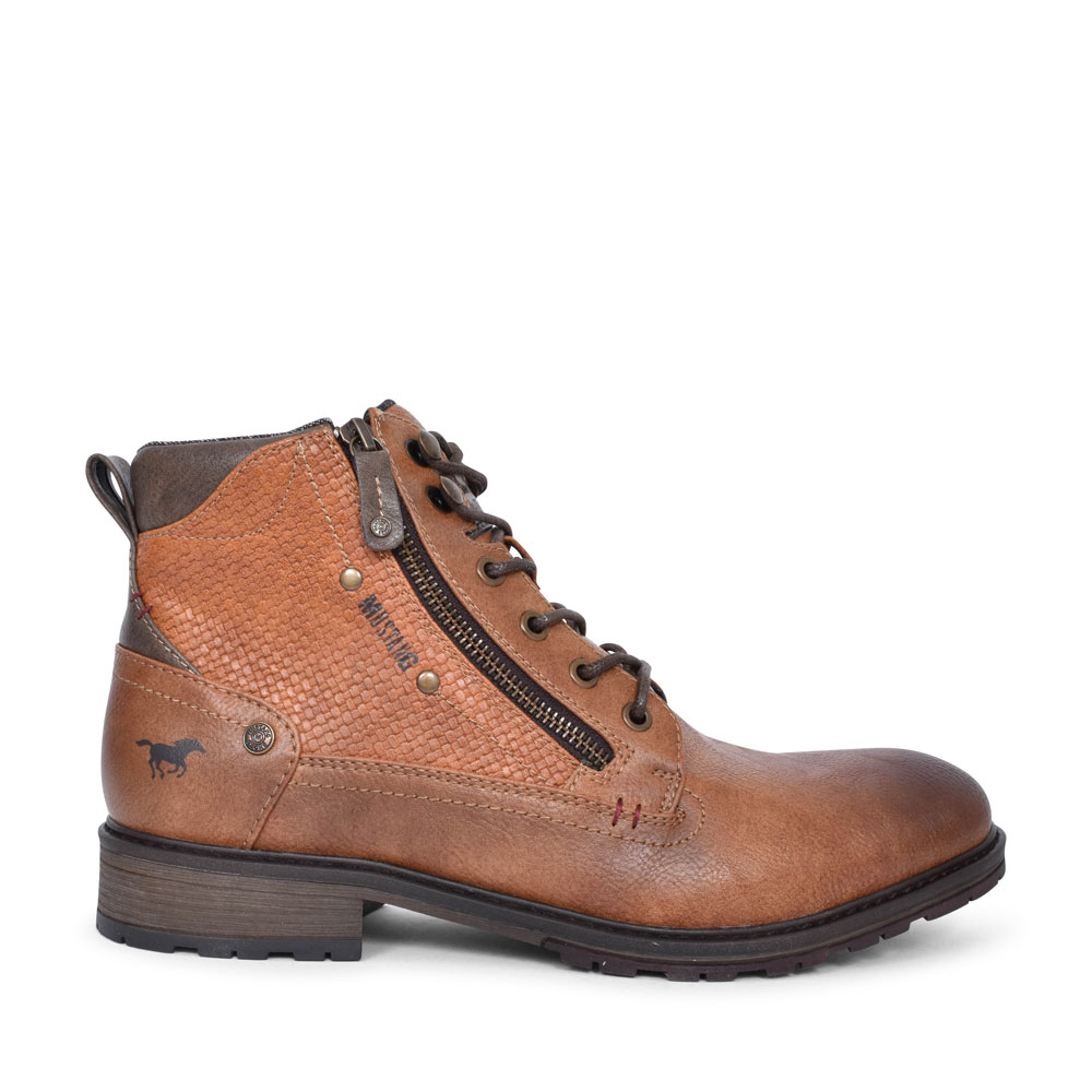 4140501 CASUAL LACED ANKLE BOOT FOR MEN in TAN