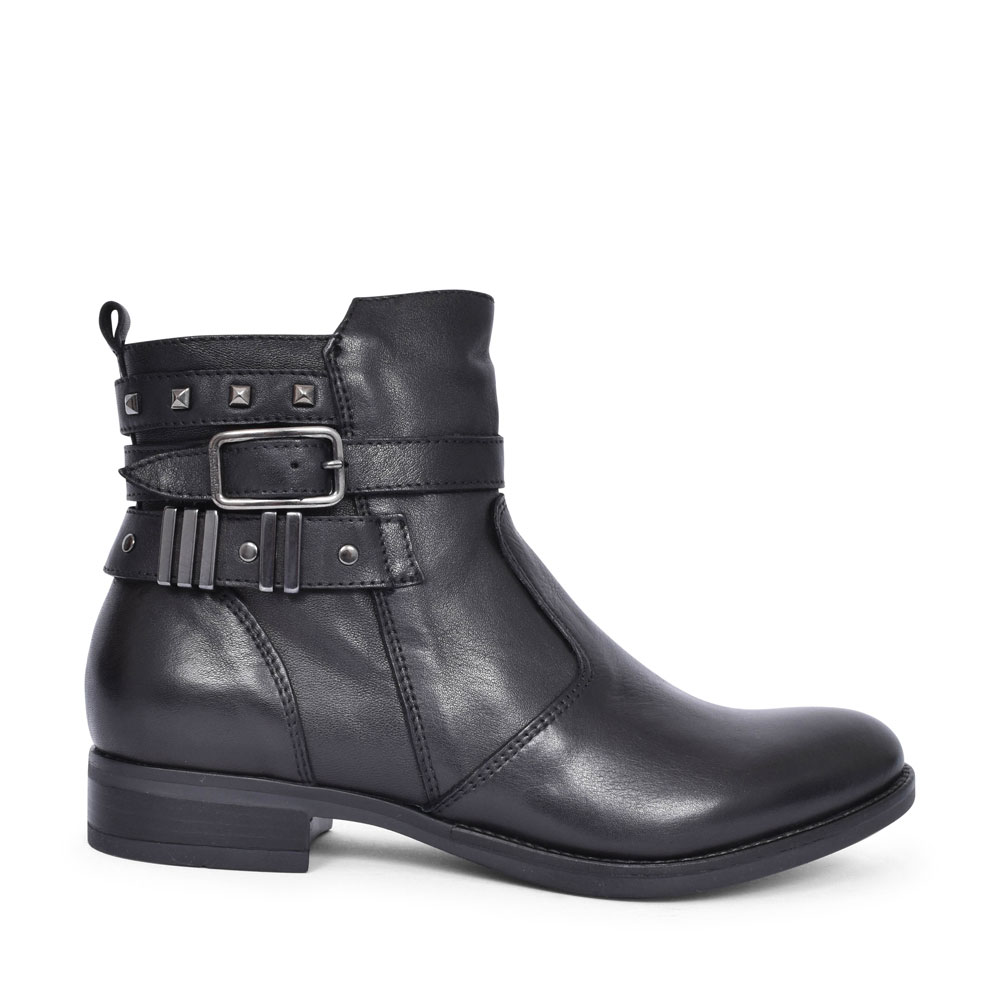08755 LOW HEEL STUD AND BUCKLE ANKLE BOOT FOR LADIES in BLACK
