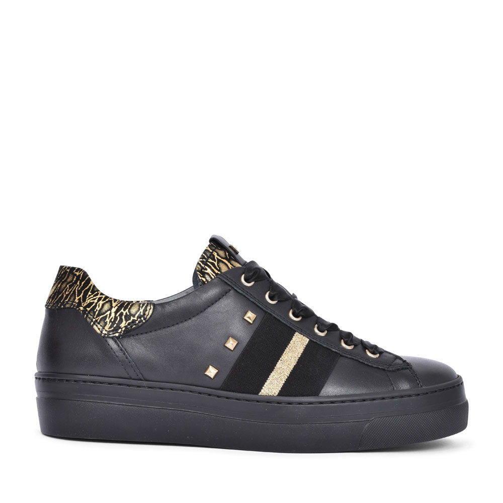09161 CASUAL LACED TRAINER FOR LADIES in BLACK