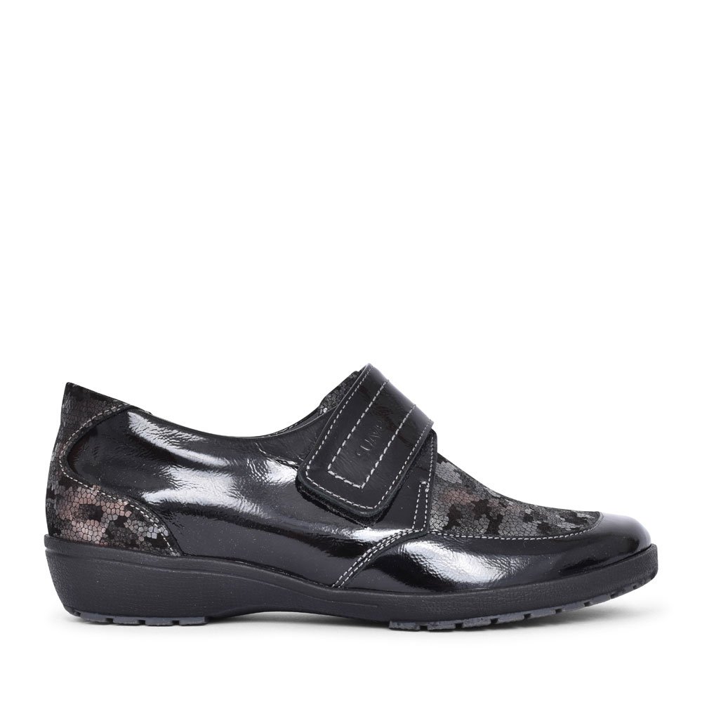 JENNY CASUAL VELCRO FASTENED SHOE FOR LADIES in BLACK