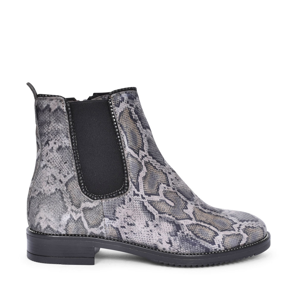 720207 LOW HEEL SNAKE PRINT ANKLE BOOT FOR LADIES in ANIMAL