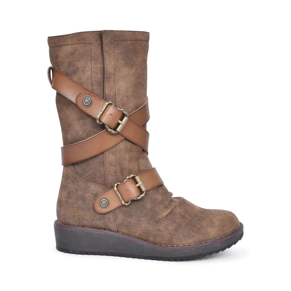CIVIEN CASUAL BUCKLE CALF BOOT FOR LADIES in TAUPE
