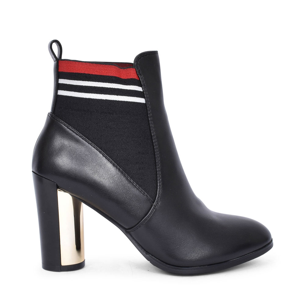 A9611 HIGH HEEL GUSSET STRIPE BOOT FOR LADIES in BLK LEATHER