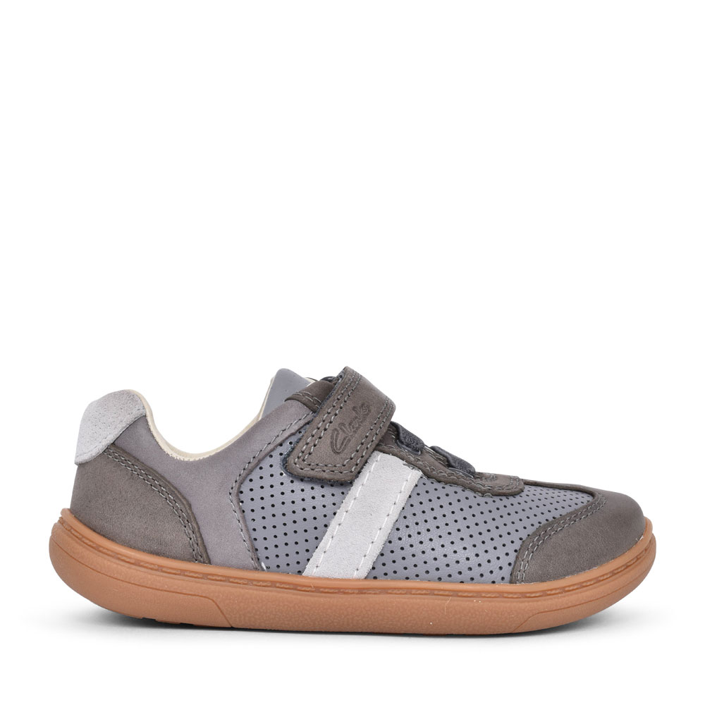 FLASH STEP GREY COMBI LEATHER VELCRO SHOE FOR BOYS in KIDS G FIT