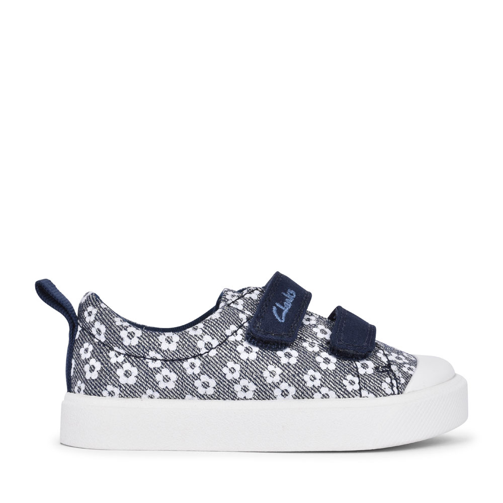 CITY BRIGHT NAVY FLORAL GLITTER CANVAS VELCRO SHOE FOR GIRLS in KIDS G FIT
