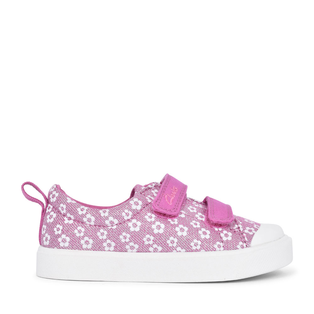 GIRLS CITY BRIGHT PINK FLORAL GLITTER CANVAS VELCRO SHOE  in KIDS F FIT