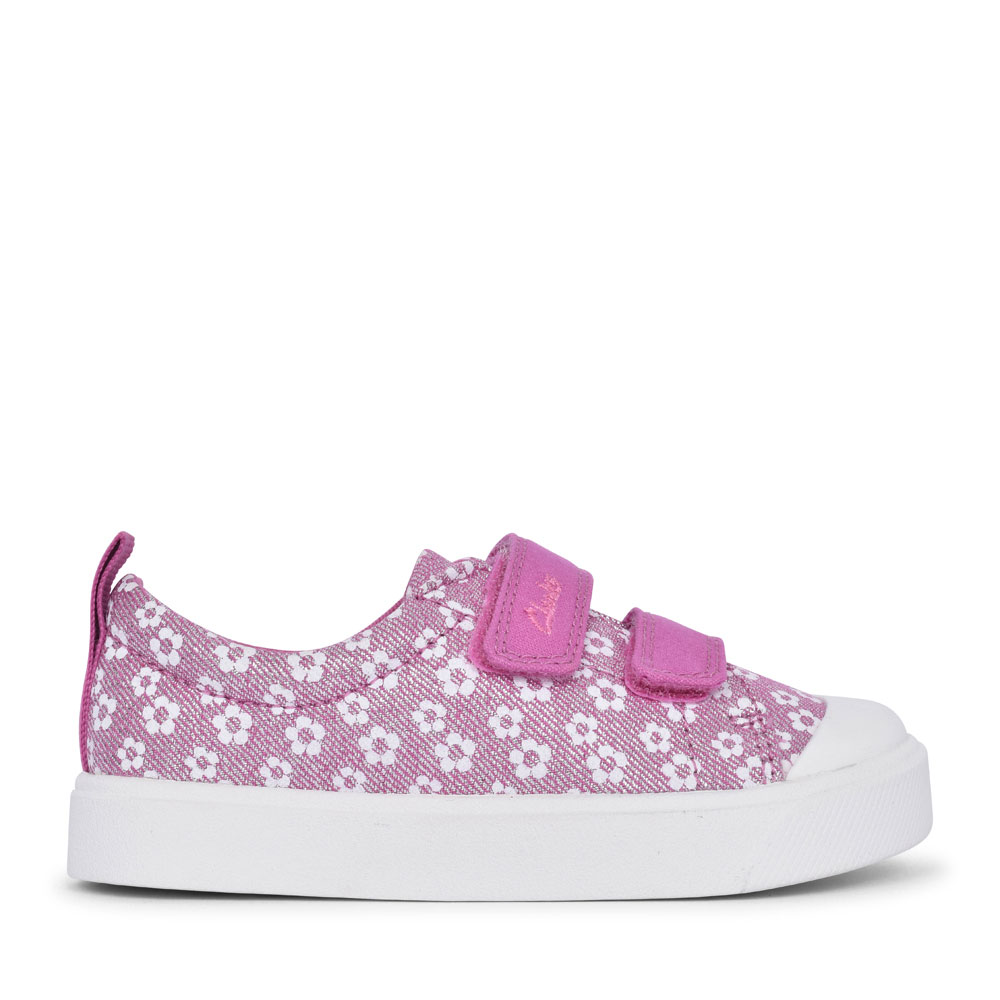 GIRLS CITY BRIGHT PINK FLORAL GLITTER CANVAS VELCRO SHOE  in KIDS G FIT