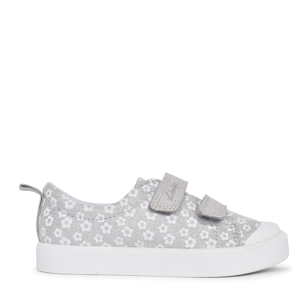 GIRLS CITY BRIGHT SILVER FLORAL GLITTER CANVAS VELCRO SHOE in KIDS G FIT