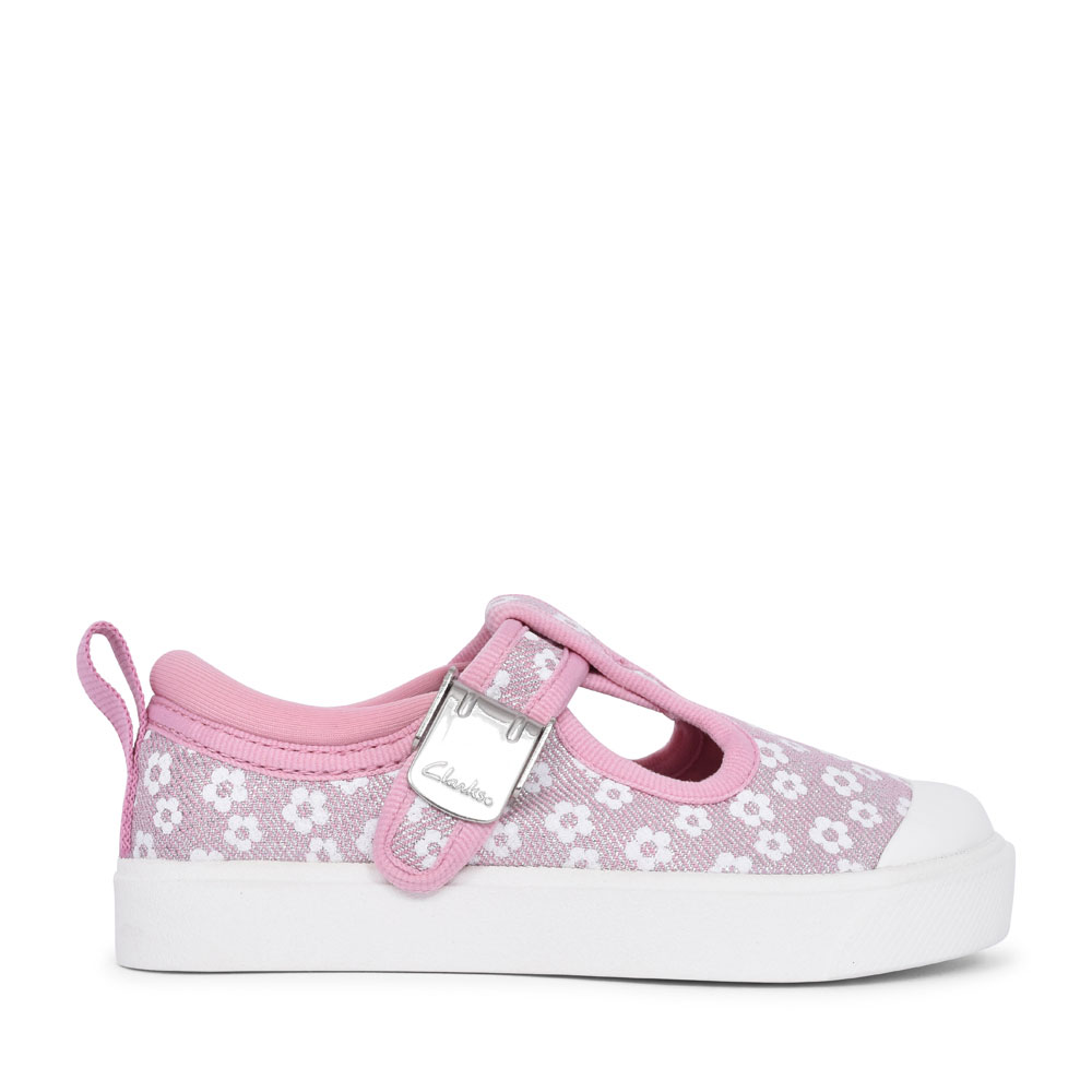 GIRLS CITY DANCE PINK FLORAL GLITTER CANVAS T-BAR SHOE  in KIDS F FIT