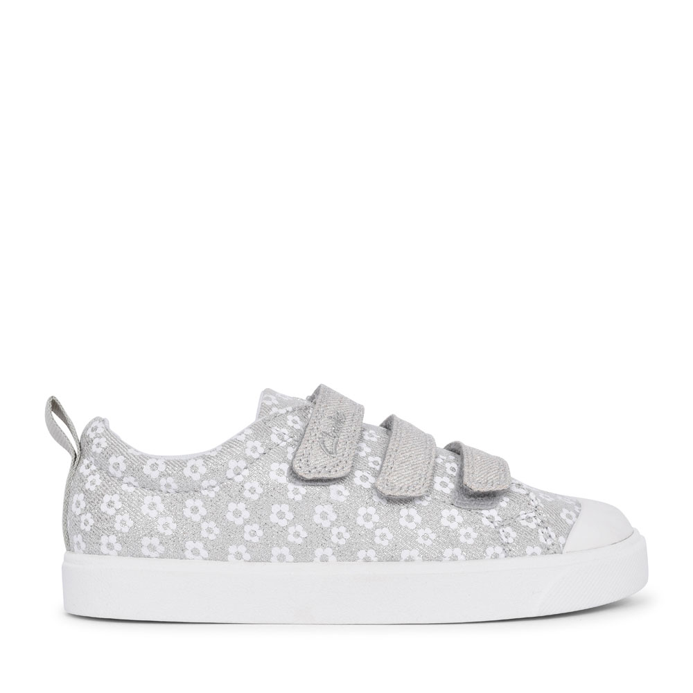 GIRLS CITY VIBE SILVER FLORAL GLITTER CANVAS VELCRO SHOE  in KIDS F FIT