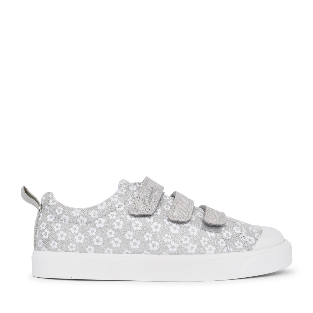 GIRLS CITY VIBE SILVER FLORAL GLITTER CANVAS VELCRO SHOE  in KIDS G FIT