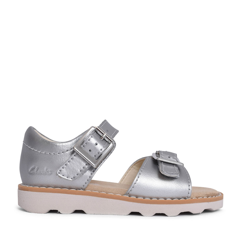 GIRLS CROWN BLOOM SILVER LEATHER SANDAL in KIDS F FIT