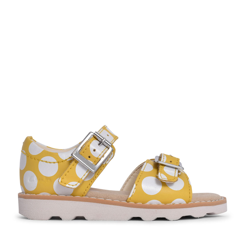 GIRLS CROWN BLOOM YELLOW INTEREST LEATHER SANDAL in KIDS F FIT