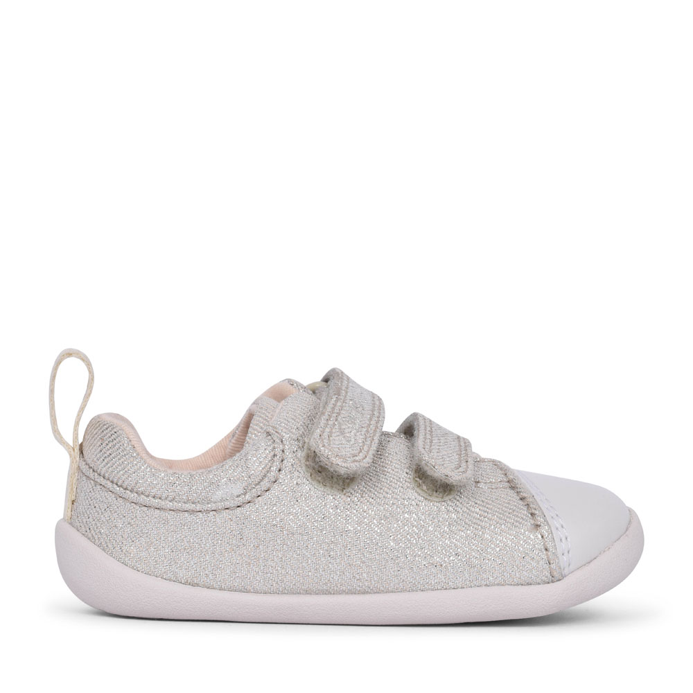 GIRLS ROAMER CRAFT SILVER CANVAS VELCRO SHOE  in KIDS F FIT