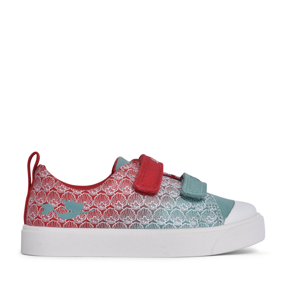 GIRLS CITY SHELL RED INTEREST CANVAS VELCRO SHOE in KIDS G FIT