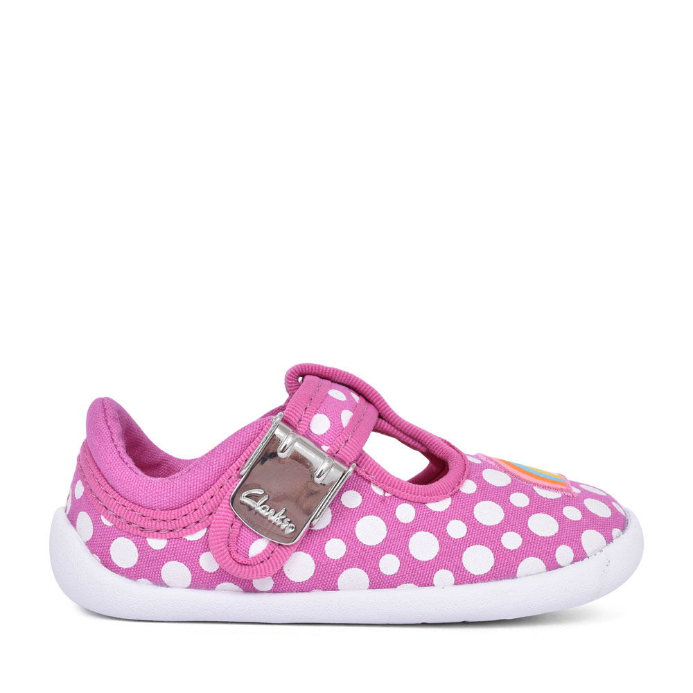 GIRLS ROAMER SUN PINK COMBI CANVAS T-BAR SHOE in KIDS F FIT