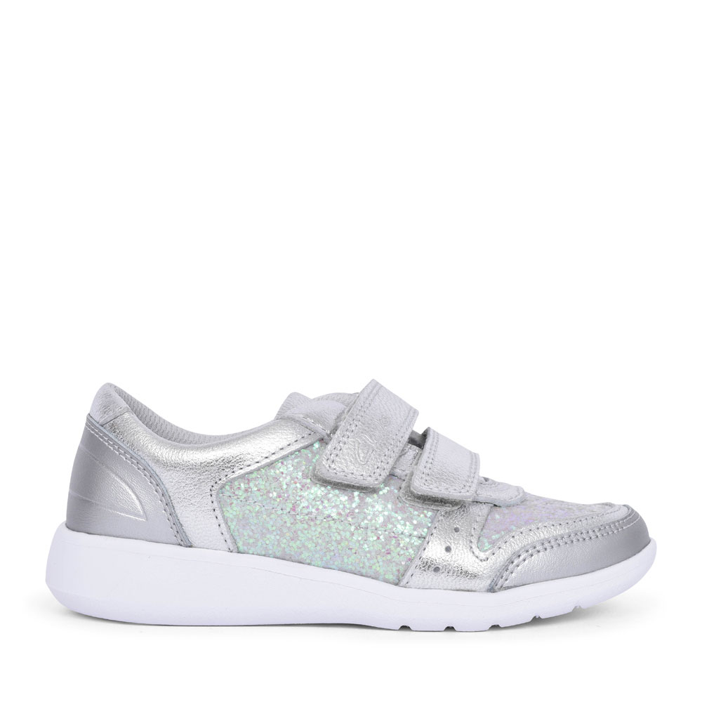 SCAPE SPIRIT SILVER METALLIC LEATHER VELCRO SHOE FOR GIRLS in KIDS F FIT