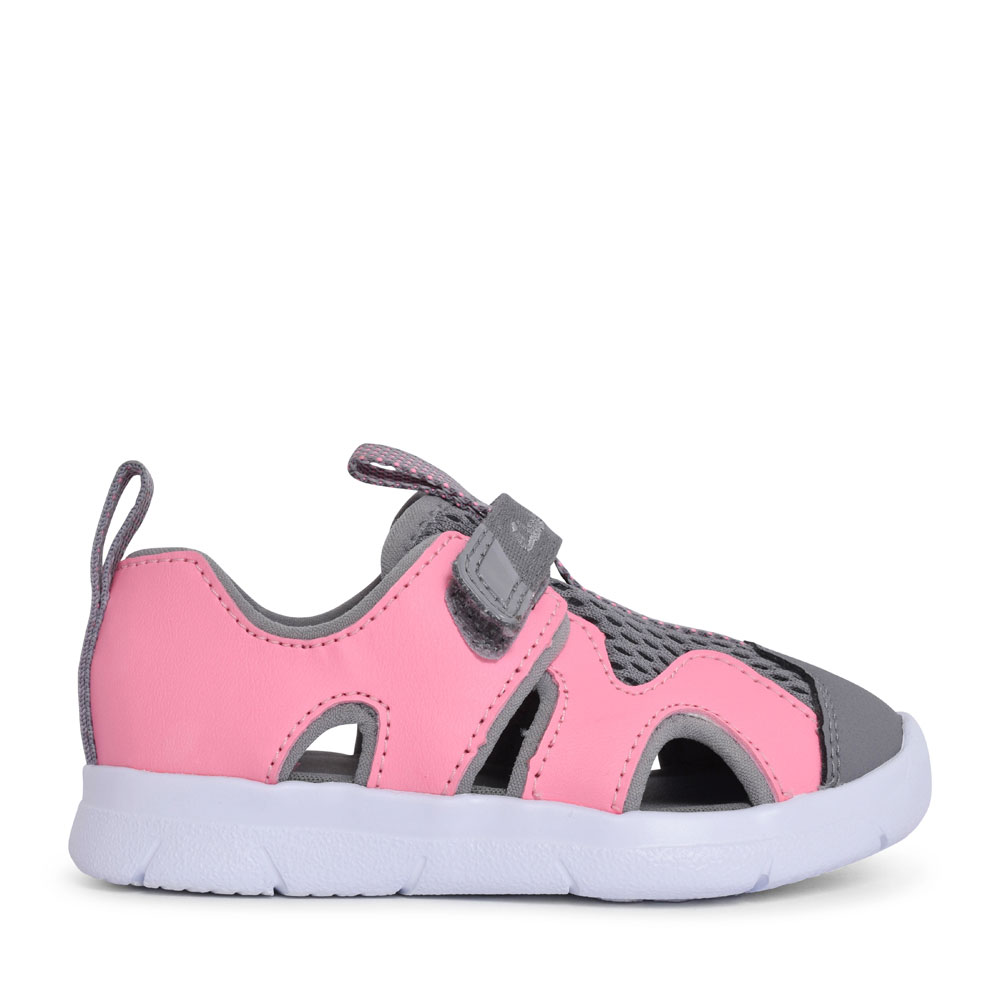 GIRLS ATH SURF PINK SYNTHETIC VELCRO SANDAL in KIDS F FIT