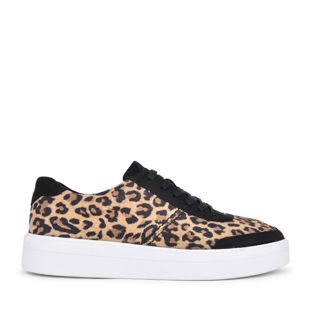 HERO WALK SUEDE D FIT LACED TRAINER FOR LADIES in LEOPARD
