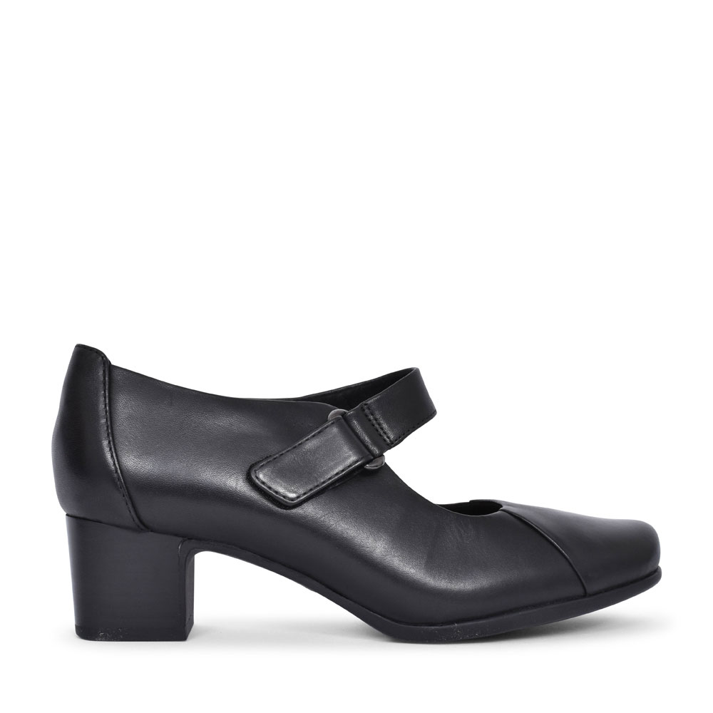 UN DAMSON VIB LEATHER D FIT LOW HEEL MARY-JANE SHOE FOR LADIES in BLACK