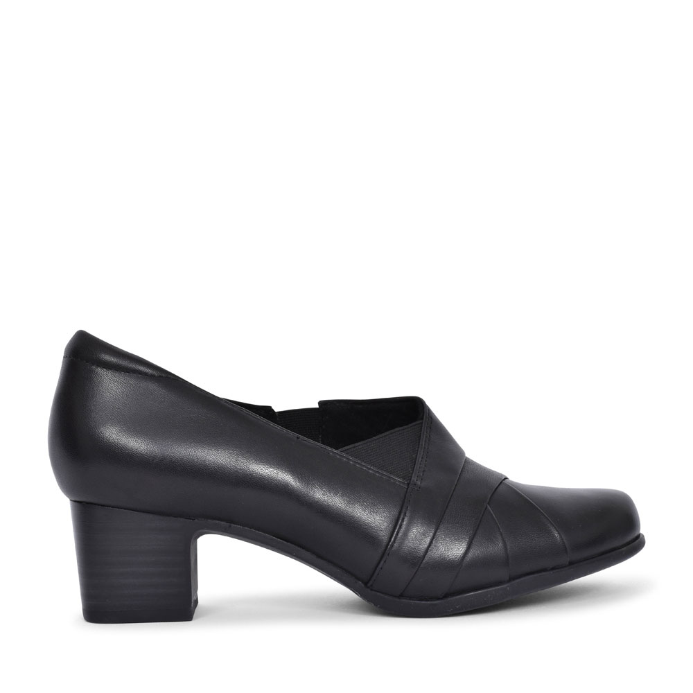 UN DAMSON ADEL LEATHER D FIT MEDIUM HEELED SHOE FOR LADIES in BLACK