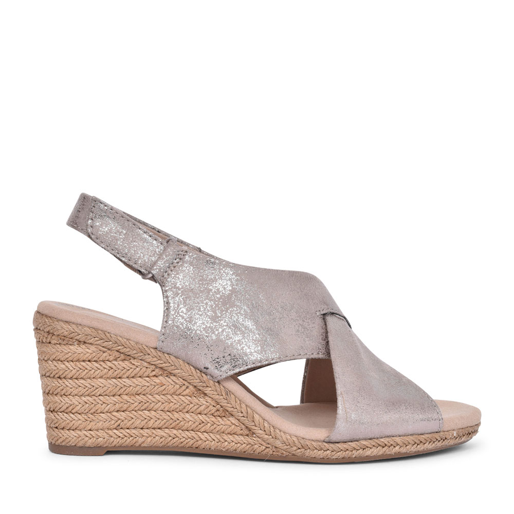 LAFLEY ALAINE TEXTILE D FIT WEDGE SANDAL FOR LADIES in PEWTER