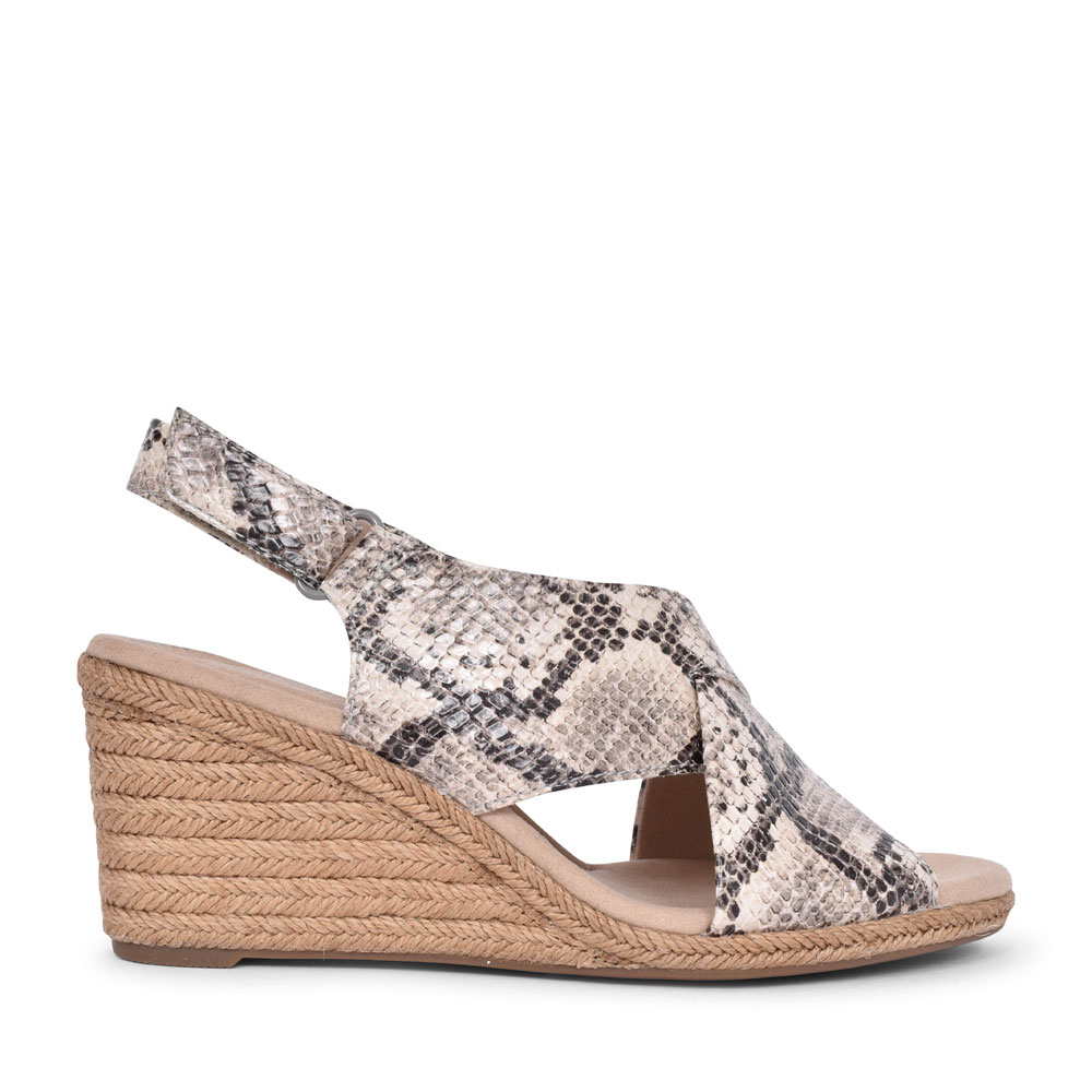 LAFLEY ALAINE TEXTILE D FIT WEDGE SANDAL FOR LADIES in TAUPE