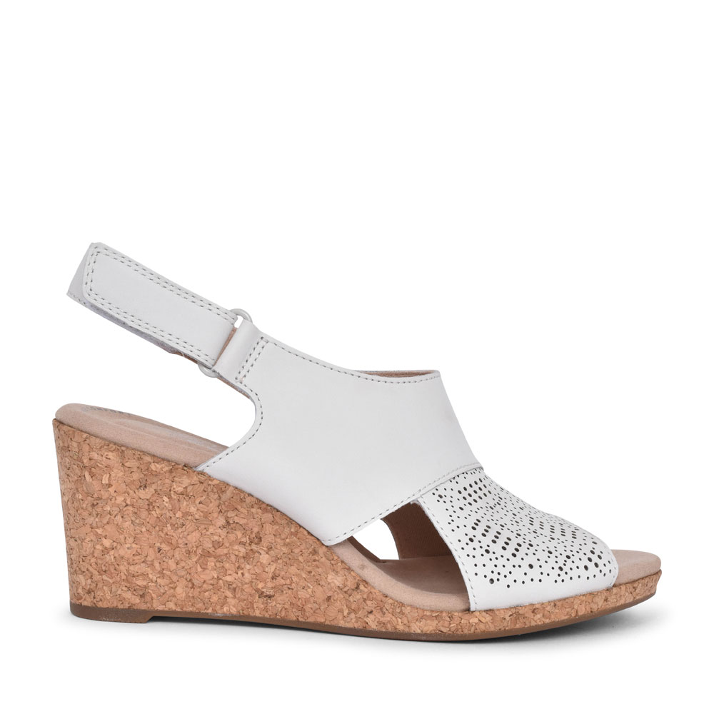 LADIES LAFLEY JOY LEATHER D FIT WEDGE SANDAL  in WHITE