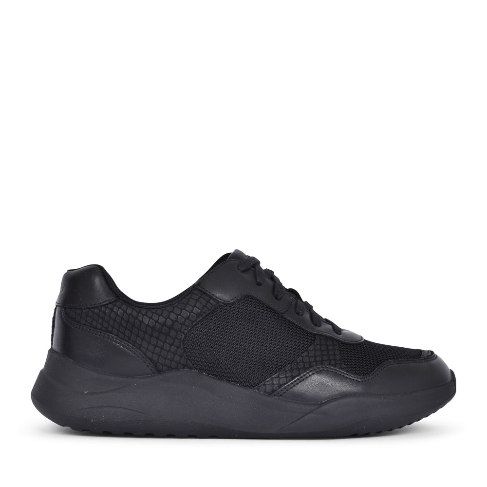 SIFT LACE SUEDE D FIT LACED TRAINER FOR LADIES in BLACK