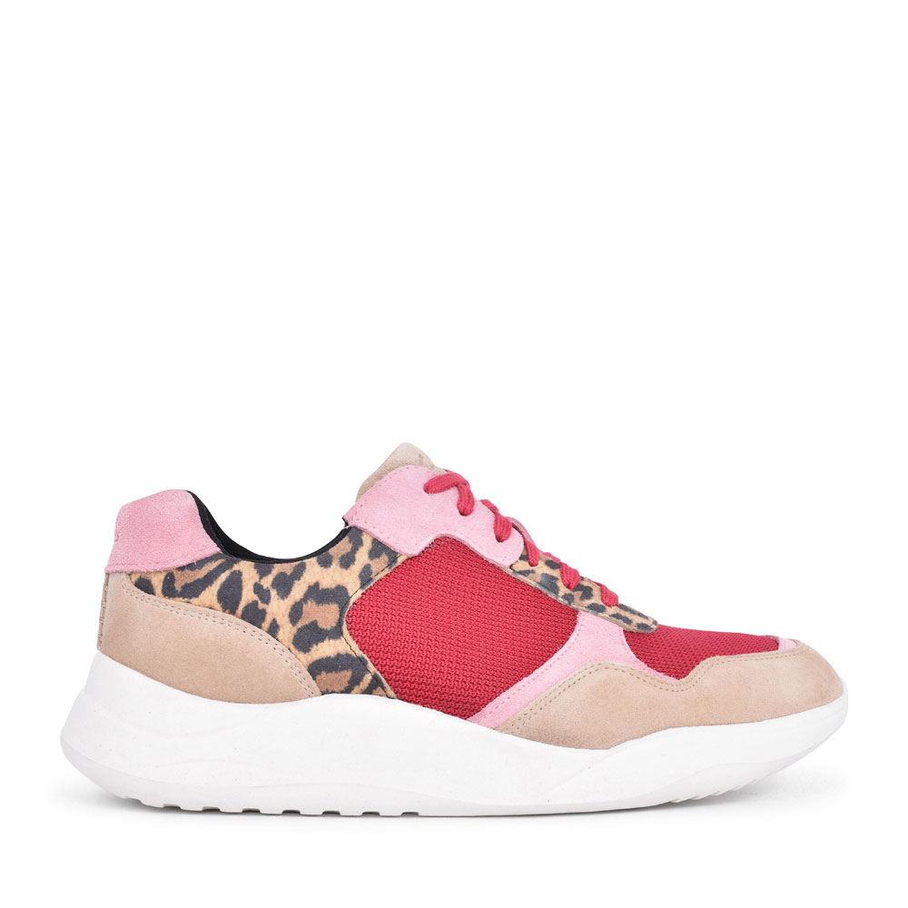 LADIES SIFT LACE SUEDE D FIT LACED TRAINER in LEOPARD