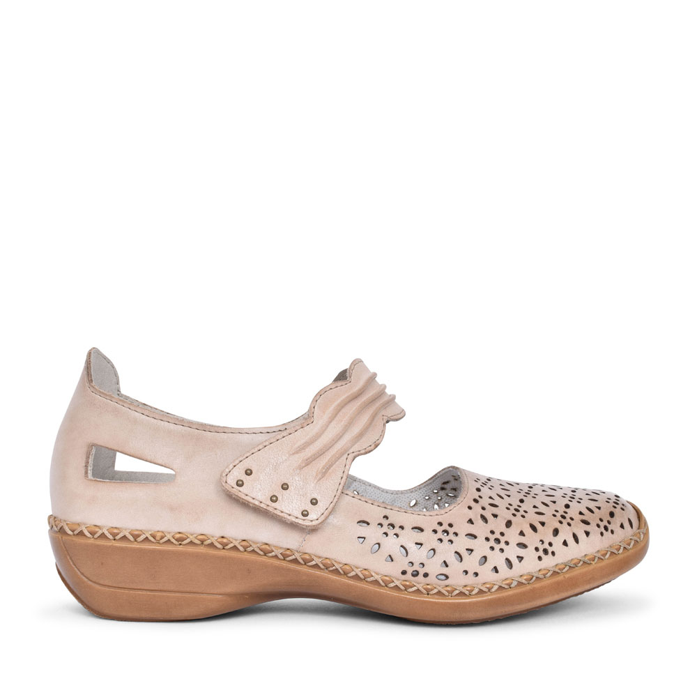 LADIES 413G7 PERFORATED VELCRO MARY JANE SHOE in BEIGE