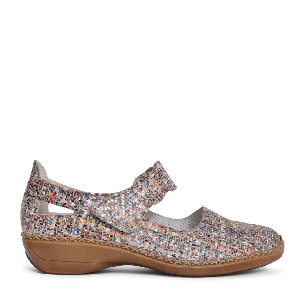 LADIES 413J2 PERFORATED VELCRO MARY JANE SHOE in MULTI-COLOUR