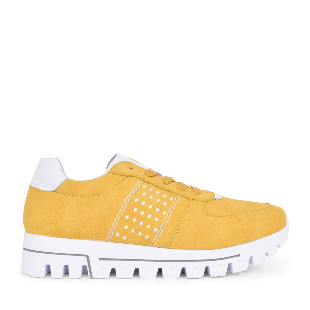 L2820 CASUAL LACED TRAINER FOR LADIES in YELLOW