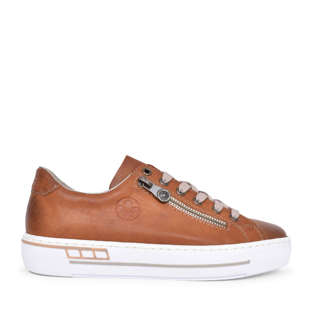 L88C2 CASUAL LACED TRAINER FOR LADIES in TAN