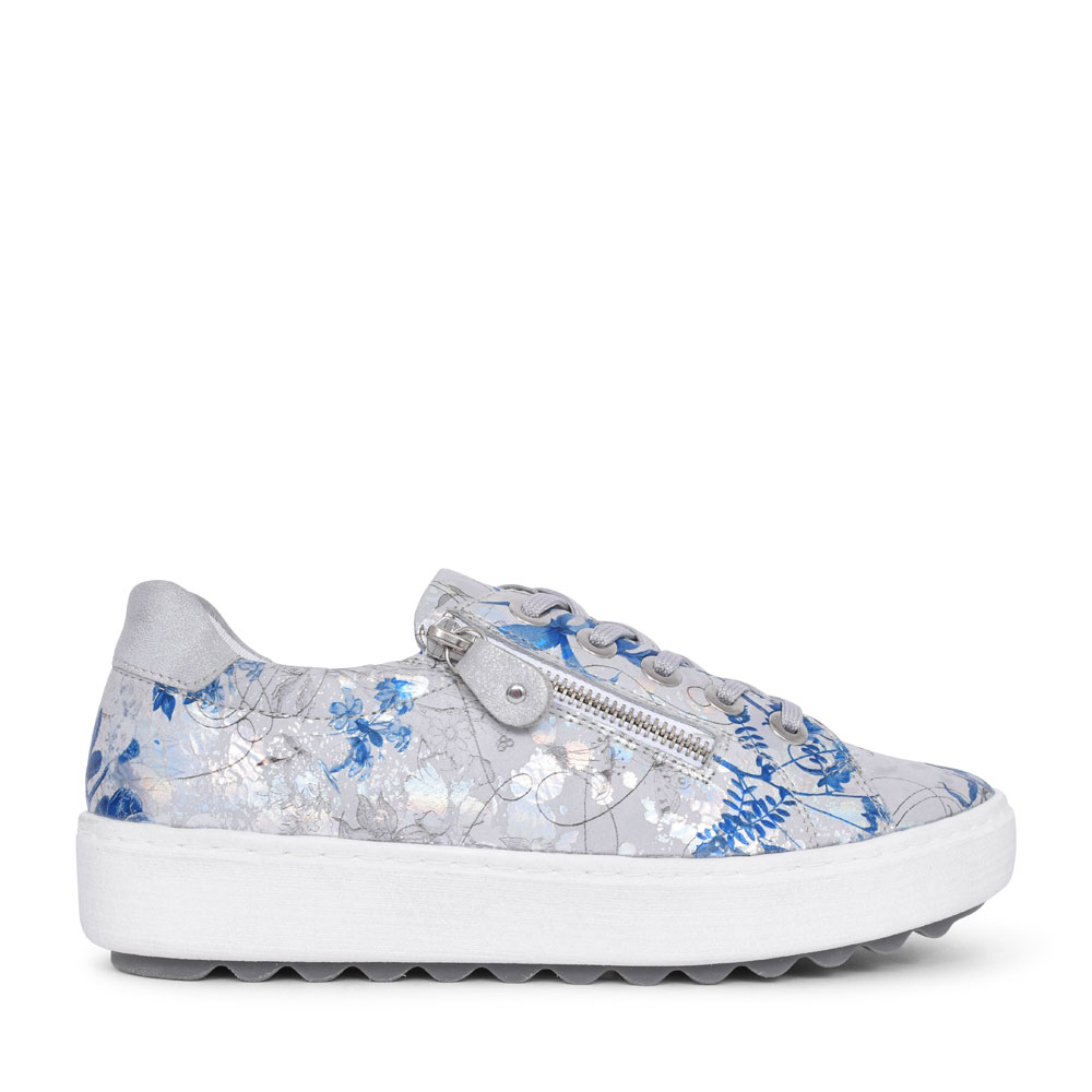 D1000 METALLIC FLOWER PRINT CASUAL LACED TRAINER FOR LADIES in BLUE