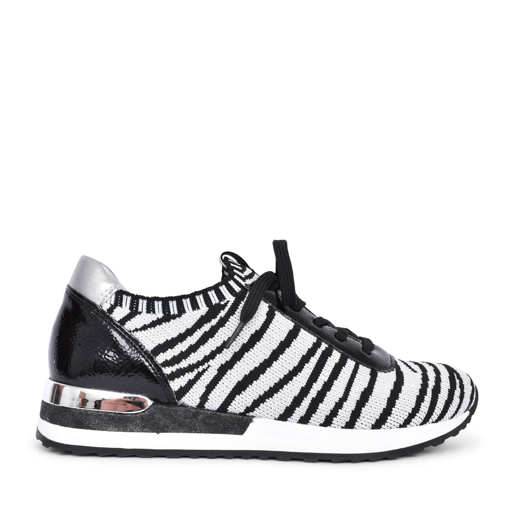 LADIES R2508 ANIMAL PRINT LACED TRAINER in WHITE